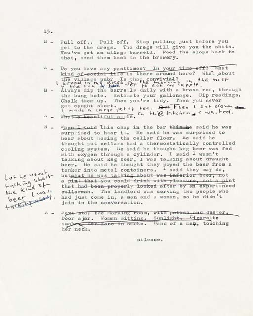 """PINTER, Harold. Corrected typescript of Landscape, [1967]. 19 pages, 4o, corrected throughout. With a 1-page autograph title: """"First draft of 'Landscape' by Harold Pinter written in 1967. Typed by the author & corrected by him. H.P."""" And with original manila file folder titled by Pinter: """"Landscape 1st Draft  Harold Pinter."""""""