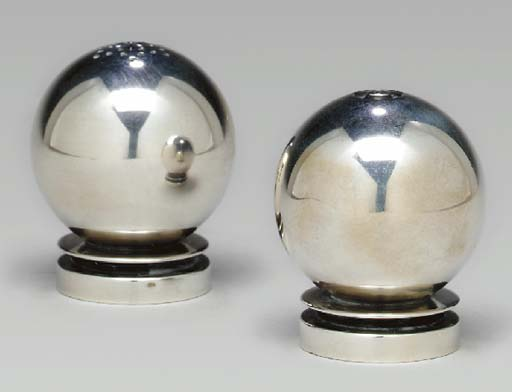 A PAIR OF DANISH SILVER CASTER