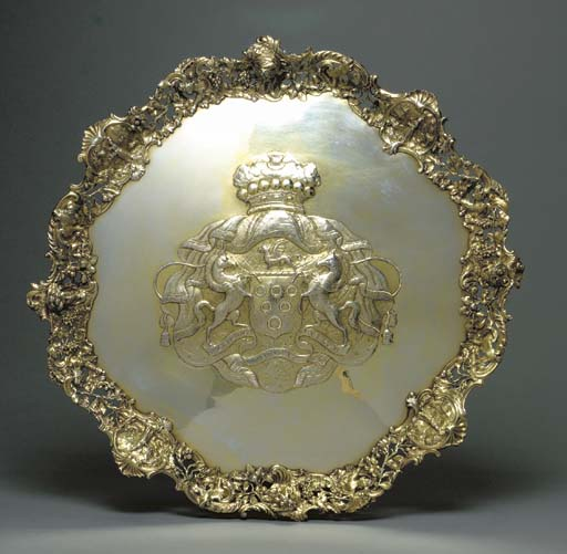A GEORGE II SILVER-GILT SALVER