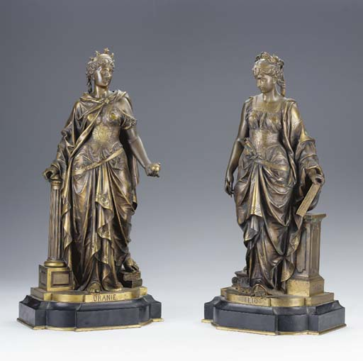 A pair of French parcel-gilt bronze allegorical figures of Urania and Clio,