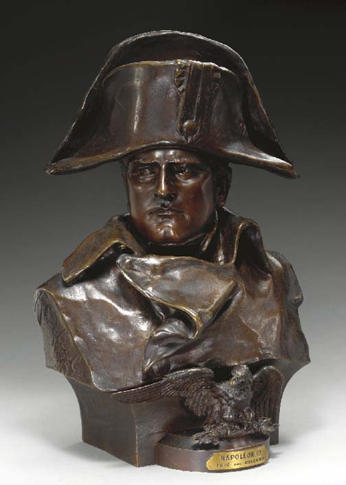 A FRENCH BRONZE BUST OF NAPOLE