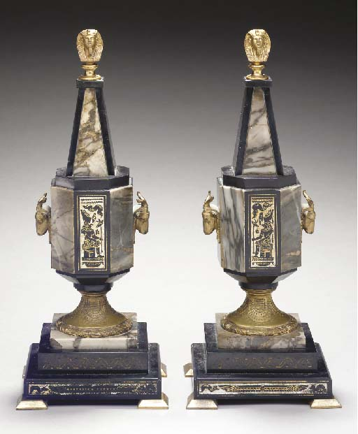 A PAIR OF EGYPTIAN REVIVAL ORM