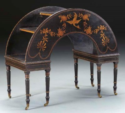 A REGENCY STYLE BLACK AND GILT