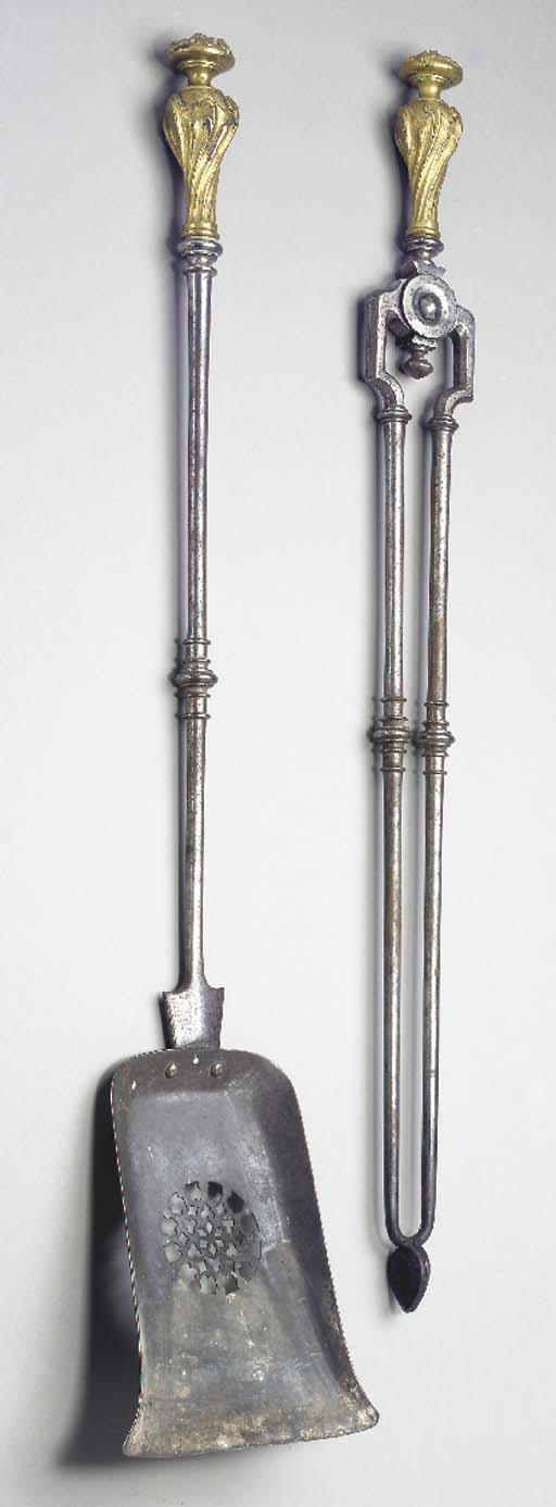 A PAIR OF STEEL AND LACQUERED-BRASS FIRE TOOLS,