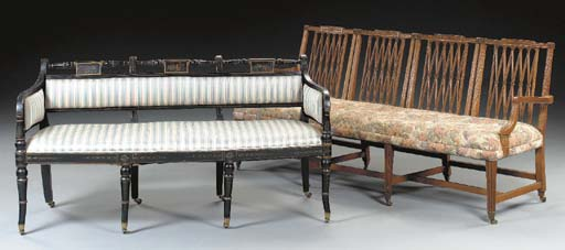 A REGENCY EBONIZED AND POLYCHROME-DECORATED SETTEE,