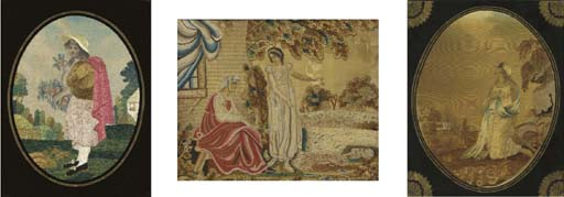A REGENCY WOOLWORK PICTURE TOG