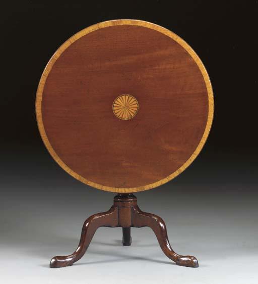 A GEORGE III MAHOGANY SATINWOOD AND INLAID TRIPOD TABLE,