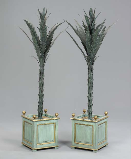 A PAIR OF GREEN TÔLE PALM TREE