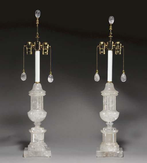 A PAIR OF ROCK CRYSTAL URN-FORM LAMPS,