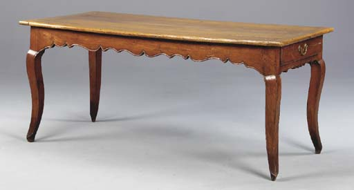 A LOUIS XV PROVINCIAL FRUITWOOD CENTER TABLE,