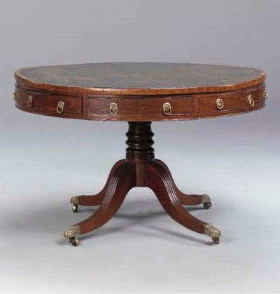 A REGENCY MAHOGANY DRUM TABLE,