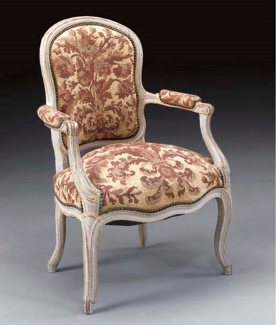 A LOUIS XV GREY-PAINTED AND PA