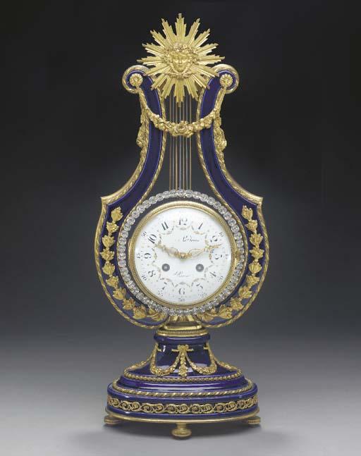 LOUIS XVI STYLE ORMOLU-MOUNTED COBALT-GROUND PORCELAIN MANTEL CLOCK,