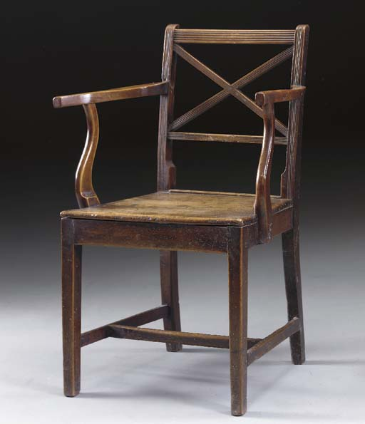A REGENCY PROVINCIAL YEW, ELM AND FRUITWOOD ARMCHAIR,