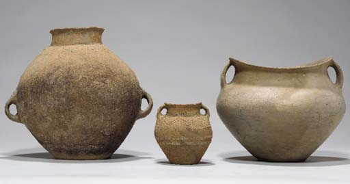 SIX NEOLITHIC RED POTTERY JARS