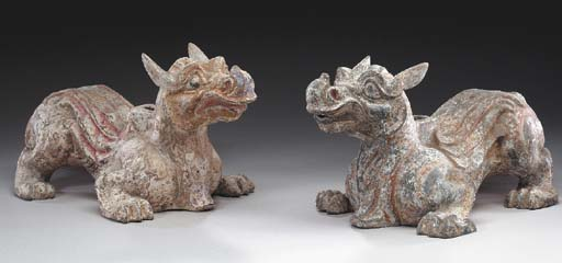 A PAIR OF PAINTED GREY POTTERY