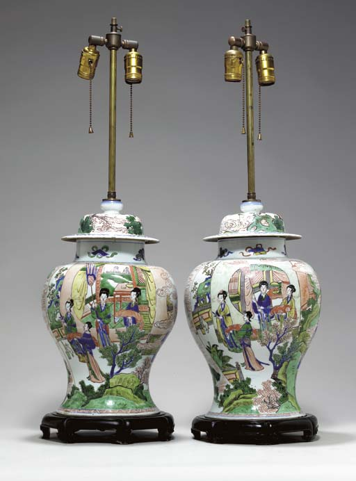 A PAIR OF WUCAI JARS AND COVER