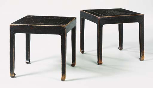 A Pair of Ming-Style Brown-Lac