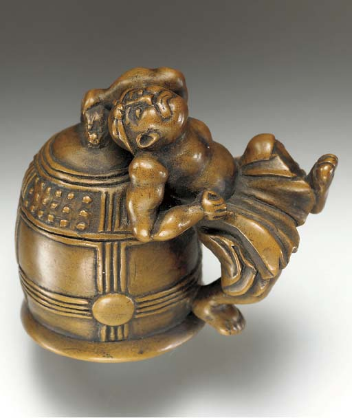 Five Wood Netsuke, Two Colored