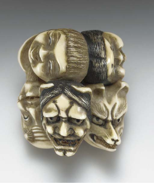 Six Ivory Netsuke, Two Wood an