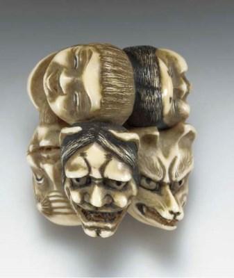 Six Ivory Netsuke, Two Wood an