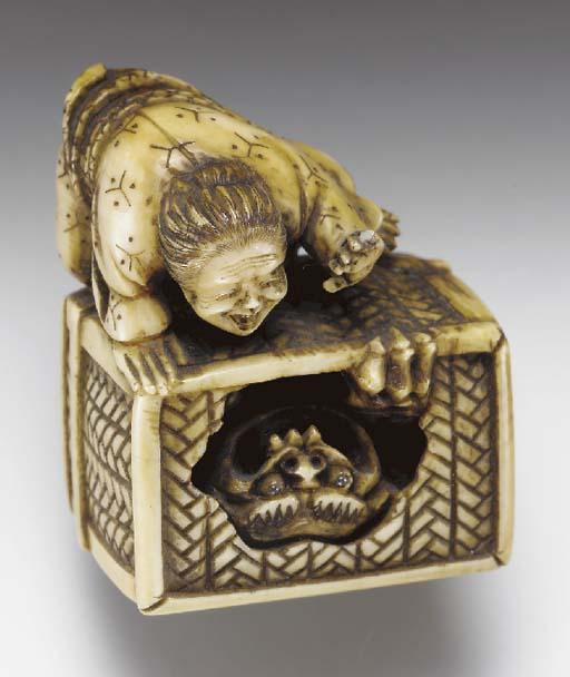 Two Ivory Netsuke, Four Lacque