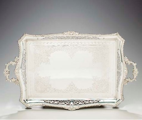 A GEORGE V SILVER TEA TRAY,