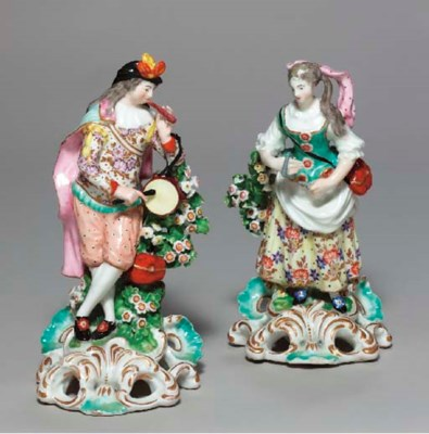 A PAIR OF DERBY FIGURES OF A M