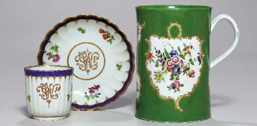 A WORCESTER FLUTED AND MONOGRA