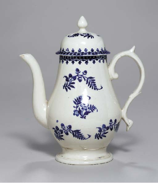 A LIVERPOOL PORCELAIN BLUE AND