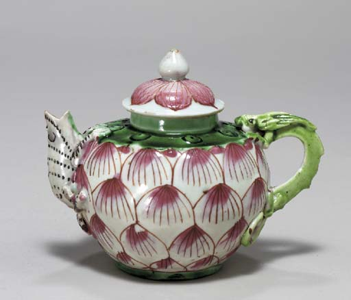 A SMALL CHINESE LOTUS TEAPOT A