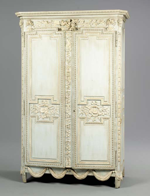 A LOUIS XVI STYLE BLUE-PAINTED
