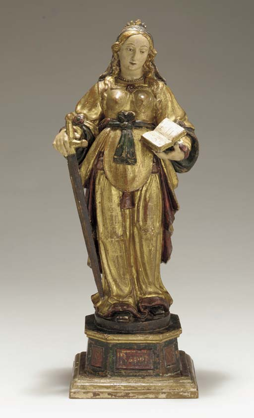 A SPANISH STANDING FEMALE SAIN