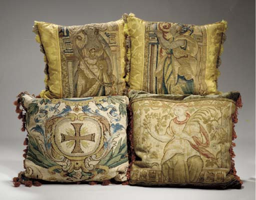 A GROUP OF FOUR TAPESTRY FRAGM