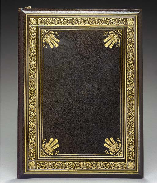 AN ENGLISH GILT-EMBOSSED OLIVE