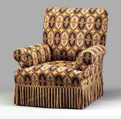 A VICTORIAN STYLE ARMCHAIR,