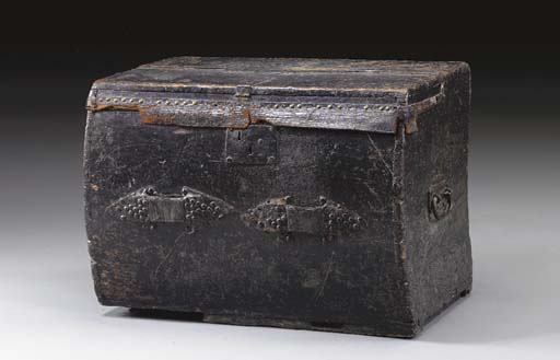 A BLACK LEATHER CARRIAGE TRUNK