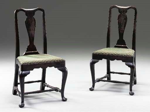 A SET OF FOUR QUEEN ANNE STYLE