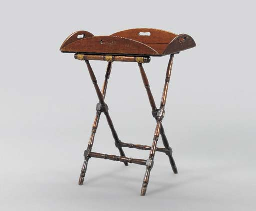 A MAHOGANY BUTLERS TRAY-ON-STA