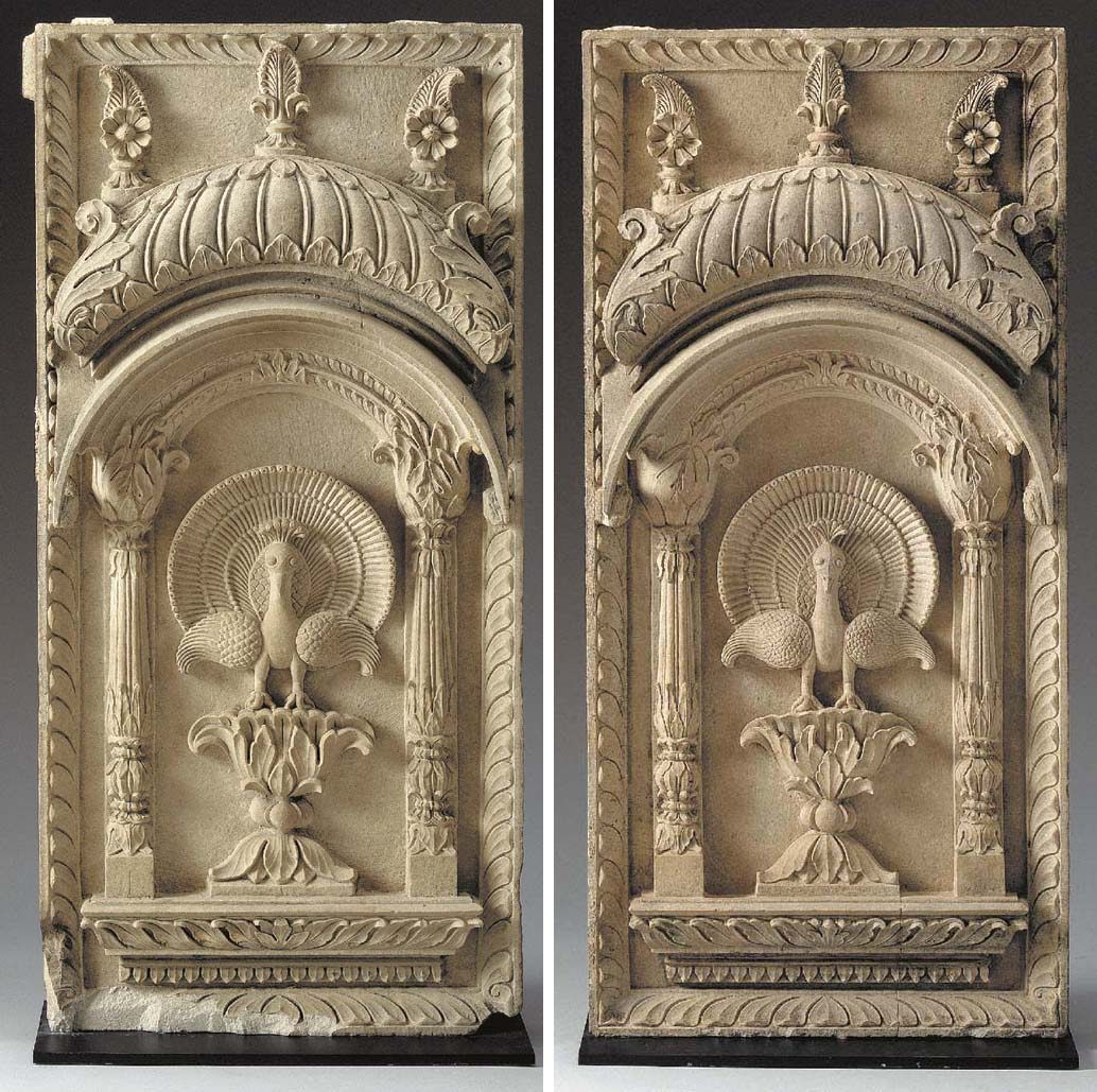 A PAIR OF SANDSTONE PANELS WIT