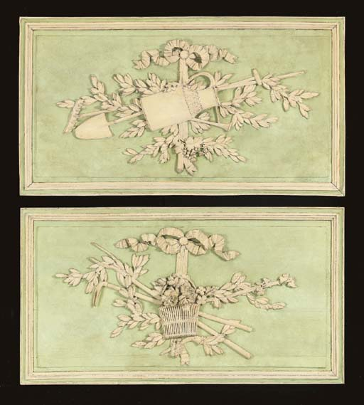 A PAIR OF LOUIS XVI GREEN AND