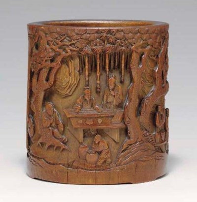 A LARGE WELL-CARVED BAMBOO BRU