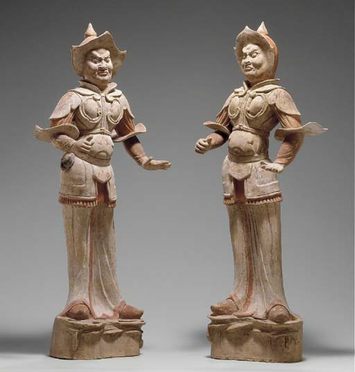 A PAIR OF PAINTED POTTERY GUARDIAN FIGURES, WUSHIYONG