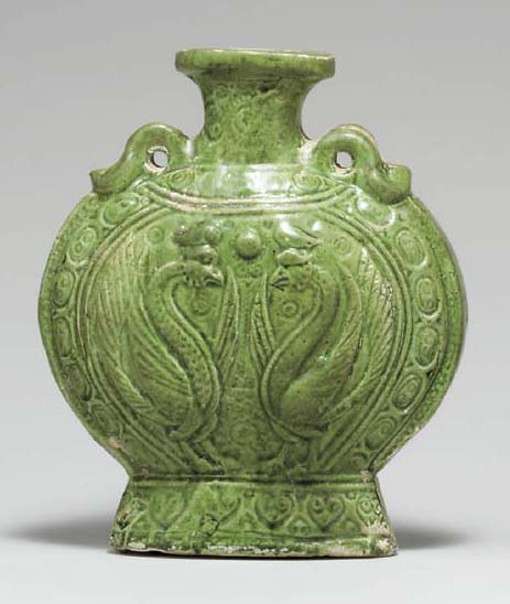 A RARE SMALL GREEN-GLAZED POTTERY FLASK