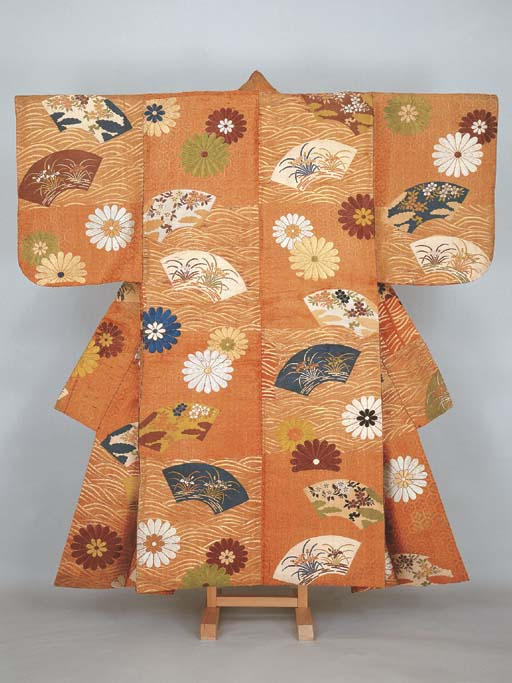 Noh costume (karaori)with scattered fans on waves and chrysanthemums on hexagonal diaper pattern