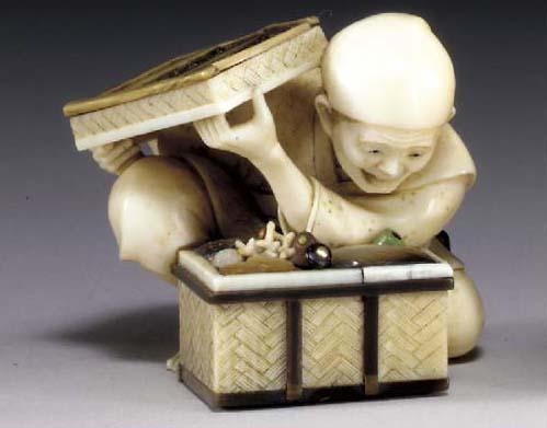 A Colored Ivory Netsuke**