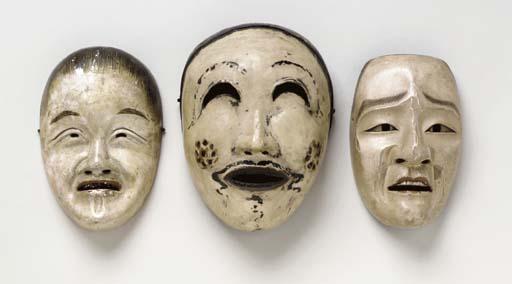 A Kyogen Mask, a Bugaku Mask a