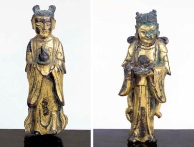Two Gilt-Bronze Figures of Att