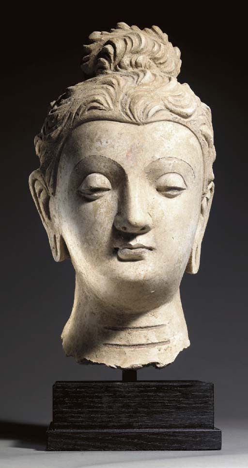 A Large Stucco Head of Buddha