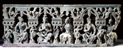 A Large Stone Frieze of Bodhis